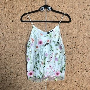 Embroidered floral camisole